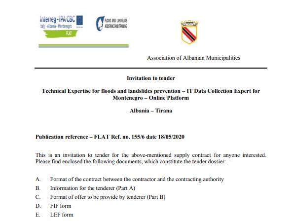 Technical Expertise for floods and landslides prevention – IT Data Collection Expert for Montenegro – Online Platform