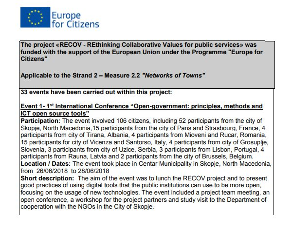 The project RECOV – REthinking Collaborative Values for public services