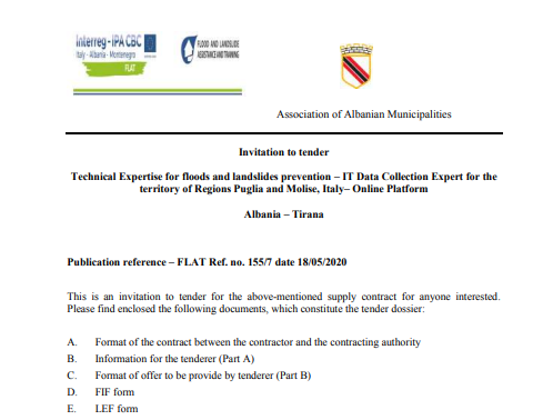 Technical Expertise for floods and landslides prevention - IT Data Collection Expert for Italy - Online Platform
